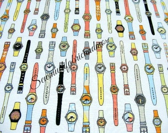 Riley Blake Geekly Chic Fabric~Watches~by the 1/2 yd~cotton~Amy Adams~white