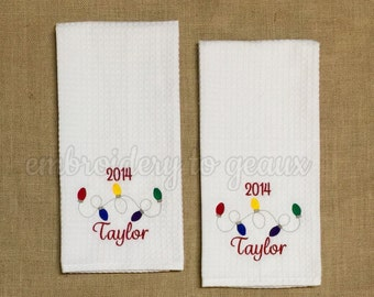 Colorful Personalized Holiday Kitchen towels-Set of Two Holiday Kitchen Towels