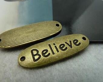 """20pcs 12x35mm Antique Bronze Lovely Letter """"Believe"""" Charms Pendant c1626"""