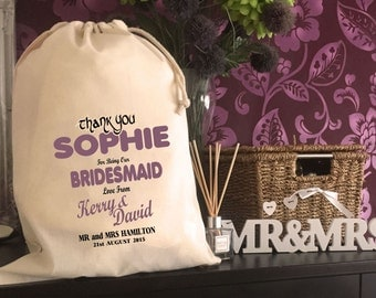 Personalised Bridesmaid Gift Bag - Various Sizes Available Sophie Design
