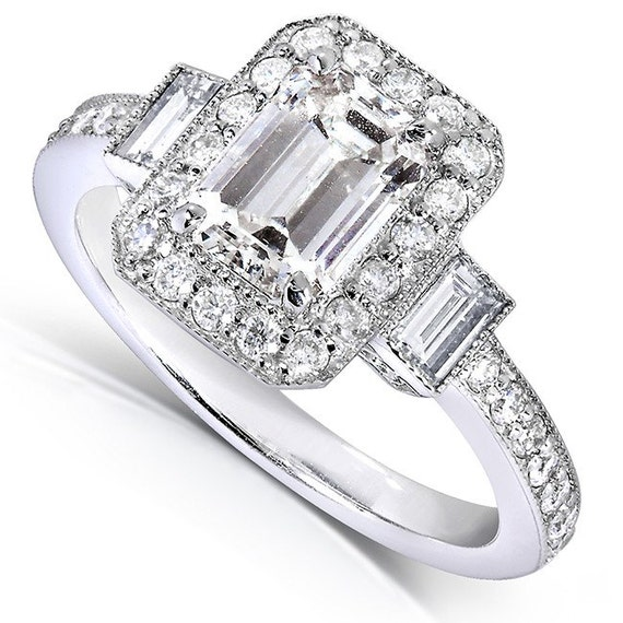 Emerald cut Diamond Halo Engagement Ring 1 1 2 Carat by Kobelli