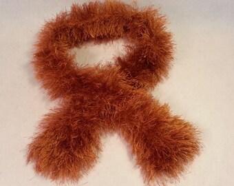 "Scarf hand knit from ""Fun Fur"" cinnamon color yarn"