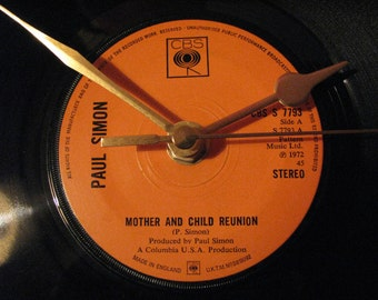 "Paul Simon mother and child reunion 7"" vinyl record clock"