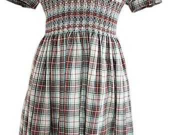 Glenbarroch tartan brushed cotton hand smocked dress 4yrs - Made in the UK