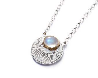 pendant sterling silver rainbow moonstone