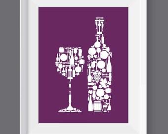Wine Kitchen Poster, Wine Kitchen Decor, Wine Kitchen Art, Kitchen Print, Wine poster, Wine icons, Wine symbols, Wine decor, Wine