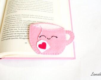 Corner bookmark tea cup, felt bookmark, original bookmark for your books, english culture