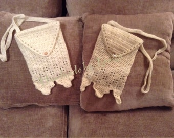 Crocheted bags with button detail