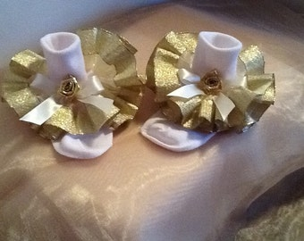 Girls gold metallic ruffle trim socks for the holidays