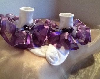 Girls purple and silver ruffle trim socks for the holidays