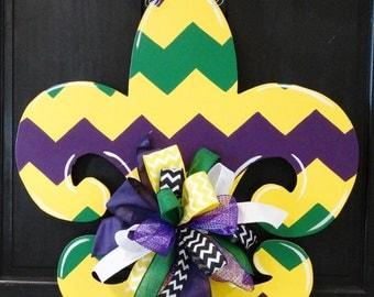 Fleur De Lis Door Hanger, Mardi Gras Door Hanger, Mardi Gras Wreath