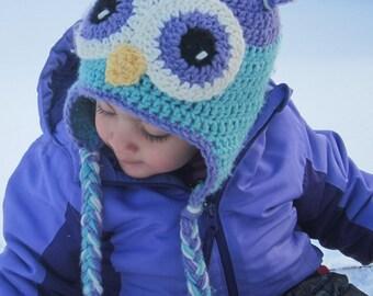 Crochet owl hat Crochet kids hat Custom Colors Beanie girls boys Earflap hat Toddler hat Kids hat Boys clothing Baby owl hat