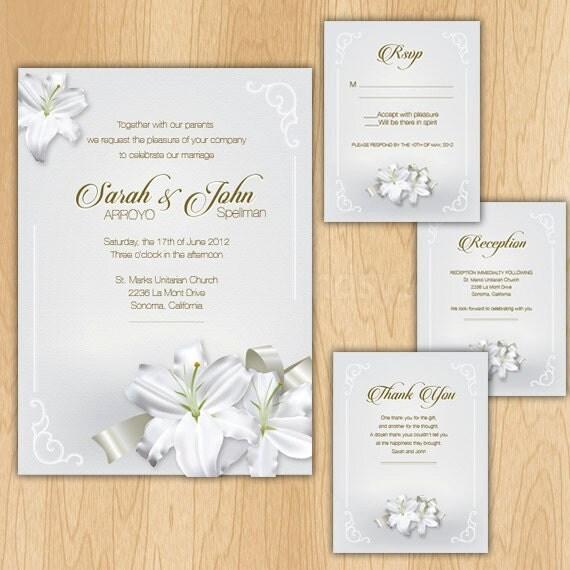 Elegant Lilies Wedding Invitation Package Printable Digital