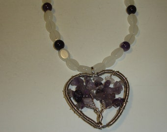 Amethyst and White Glass Necklace with Wire-wrapped Pendant