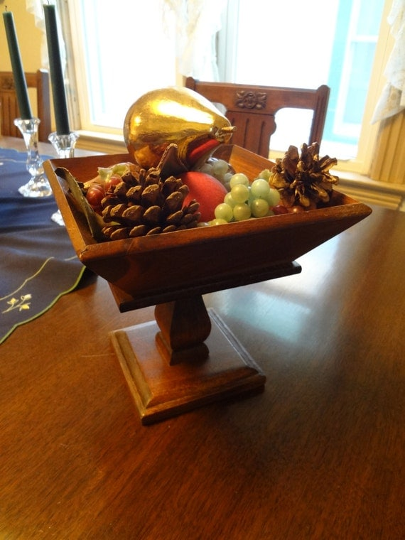 Wooden pedestal compote fruit bowl