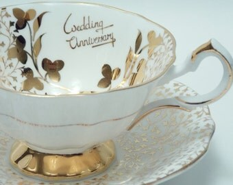 """Queen Anne Vintage Fine Bone China Tea Cup and Saucer Made in England """"Wedding Anniversary"""" Gold Chintz Trim"""