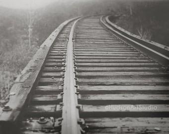 Railroad Track Photography 8x10 print Black and White Fine Art Photography Landscape Photography Home Decor Living Room Decor Railway print