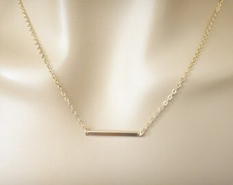 Modern, Gold filled, Sterling silver, Bar, Necklace, Line, Dash, Necklace, Lovers, Friends, Sister, Everyday, Gift, Jewelry