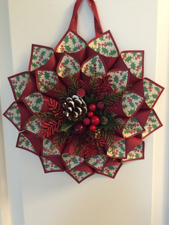 Items Similar To Red With Holly Berry Paper Cone Wreath On