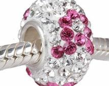 Pink Ribbon Breast Cancer Awareness charm fits Pandora Charm & European charm bracelet/Pink birthstone gemstone Charm/Breast cancer bracelet