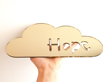 Mirror cloud wall decor, gold hope cloud wall decor, kids mirror, kids wall decor, nursery decor