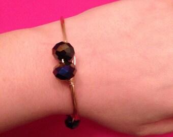 Black bead wire bangle