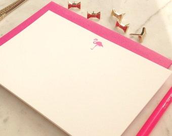 Pink Flamingo- Letterpress Flat Note Cards - Set of 6