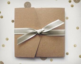 10 Medium Ribbed Kraft Pocketfold Envelopes / for Rustic Wedding Invitations / DIY Card Sets