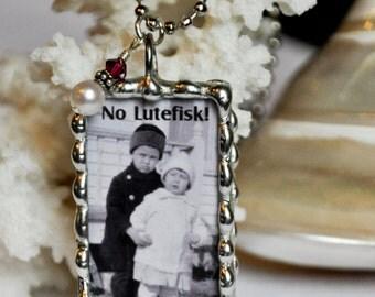 Scandinavian Christmas Pendant - God Jul and No Lutefisk! Handmade Soldered Glass Pendant - Soldered Charm Necklace