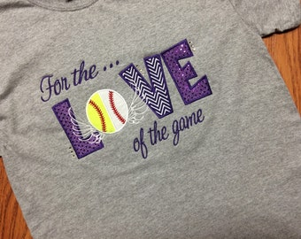 For the Love of the Game applique shirt... You choose sport and color