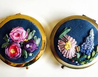 Silk Ribbon Embroidery handmade mirror/ gift for all occasion
