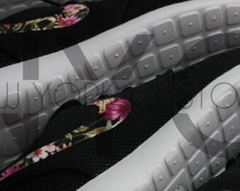 Nike Roshe Run Black White Floral Bouquet Print Swoosh V3 Edition Custom Men & Womens