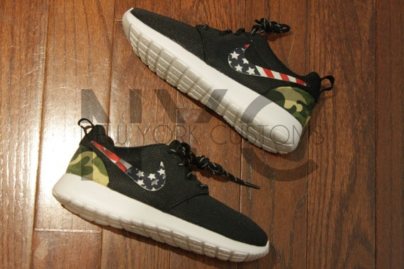 feac0de51c19 low-cost Nike Roshe Run Black White American Flag Pride x Camo by NYCustoms