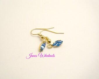 Earrings - Aqua Marquis Drop - Gold - Swarvoski Elements