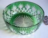 French Green Massenet Bowl from St Louis - Dessert Bowl, Fruit Bowl