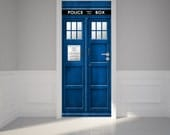"Door Wall Sticker Police Call Box - Self Adhesive Peel & Stick Repositionable Fabric Mural 31""w x 79""h (80 x 200cm)"