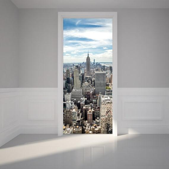 door wall sticker new york city manhattan view peel stick. Black Bedroom Furniture Sets. Home Design Ideas