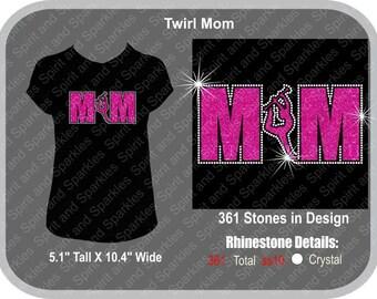 Twirl Mom Glitter w/Rhinestone Border T-Shirt, Tank or Hoodie