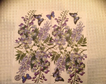 Paper napkin for decopage. 3 ply. Wisteria. Order is for 2 napkins.