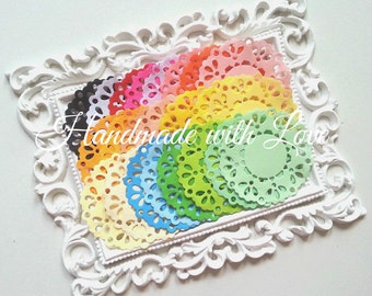 2.3 inches Rainbow Paper Doilies, 1 pack of 24 color. Perfect for anything from cards to scrapbook, or decoration.