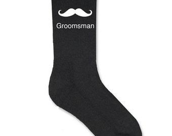 Mustache Groomsman Black Socks