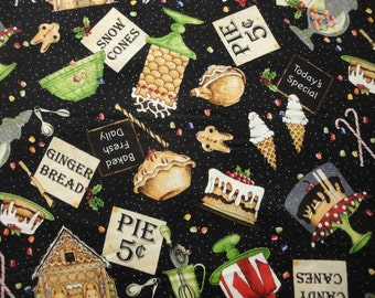 Baker's Dozen By Quilting Treasures-BTY-Candies & Gingerbread on Black B/G