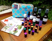 Natural Essential Oil First Aid or Travel Bag - Turquoise Lattice