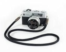 Black Camera Strap Hand knotted, Neck Camera Strap, Cross Strap, RF Camera Strap, SLR Camera Strap, Mirrorless Camera Strap, Knot Strap