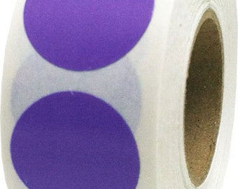 500 Purple Dot Stickers - 0.75 Inch Round Adhesive Labels