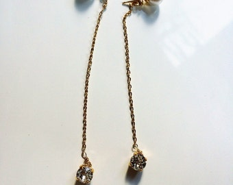 Swarovski white pearl with gold chain and swarovski earrings
