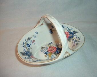 Vintage Crown Staffordshire Penang Bone China Basket Free US Shipping