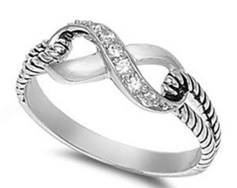 Infinity CZ Ring Sterling Silver 925
