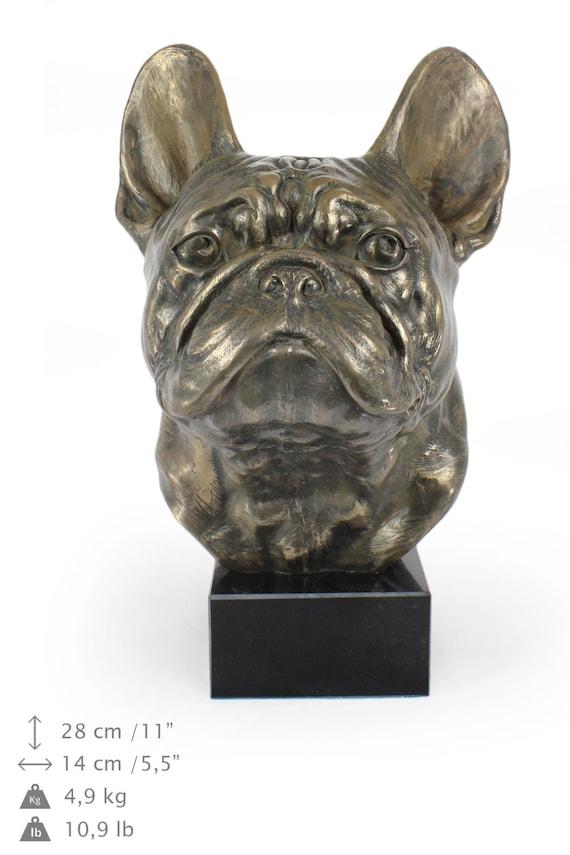 bouledogue fran ais statue de chien sur socle en marbre en. Black Bedroom Furniture Sets. Home Design Ideas