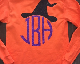 Halloween witches hat monogrammed shirt!